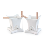 Swissmar Harmony White 10 Piece Dual Fondue and Butter Warmer Set