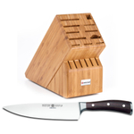 Wusthof Bamboo 17-Slot Knife Block with Ikon Blackwood 8 Inch Cook's Knife