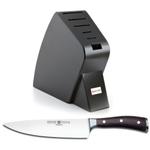 Wusthof Black Studio 6-Slot Knife Block with Ikon Blackwood 8 Inch Cook's Knife
