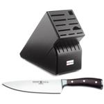 Wusthof Black 17-Slot Knife Block with Ikon Blackwood 8 Inch Cook's Knife