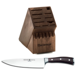 Wusthof Walnut 17 Slot Knife Block with Ikon Blackwood 8 Inch Cook's Knife