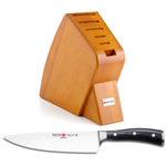 Wusthof Cherry Studio 6-Slot Knife Block with Classic Ikon High Carbon Steel 8 Inch Cook's Knife