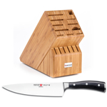 Wusthof Bamboo 17-Slot Knife Block with Classic Ikon High Carbon Steel 8 Inch Cook's Knife