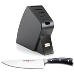 Wusthof Black Studio 6-Slot Knife Block with Classic Ikon High Carbon Steel 8 Inch Cook's Knife