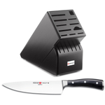 Wusthof Black Wood 17-Slot Knife Block with Classic Ikon High Carbon Steel 8 Inch Cook's Knife