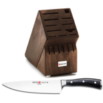 Wusthof Walnut 17 Slot Knife Block with Classic Ikon High Carbon Steel 8 Inch Cook's Knife