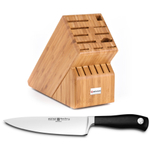 Wusthof Bamboo 17-Slot Knife Block with Grand Prix II 8 Inch Cook's Knife