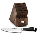 Wusthof Walnut 17 Slot Knife Block with Grand Prix II 8 Inch Cook's Knife