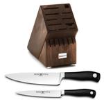 Wusthof Walnut 17 Slot Knife Block with Grand Prix II 8 Inch Cook's Knife and Grand Prix II 6 Inch Utility Knife