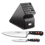 Wusthof Blackwood 17-Slot Knife Block with Classic High Carbon Stainless Steel 8 Inch Cook's Knife and Classic High Carbon 4.5 Inch Stainless Steel Utility Knife