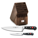 Wusthof Walnut 17 Slot Knife Block with Classic High Carbon Stainless Steel 8 Inch Cook's Knife and Classic High Carbon 4.5 Inch Stainless Steel Utility Knife