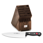 Wusthof Walnut 17 Slot Knife Block with Gourmet Steel 8 Inch Cook's Knife