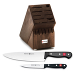Wusthof Walnut 17 Slot Knife Block with Gourmet Steel 8 Inch Cook's Knife and Gourmet High Carbon 4.5 Inch Stainless Steel Utility Knife