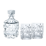 Nachtmann Punk Fine Crystal 3 Piece Decanter and Whisky Tumbler Set