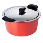 Kuhn Rikon Hotpan Stainless Steel 2 Quart Cook & Serveware Casserole with Red Serving Shell