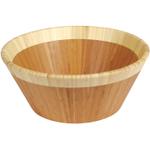 Island Bamboo Large Caramelized Bamboo Salad Bowl With Natural Rim