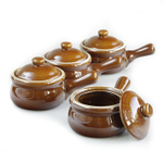 HIC Harold Import Co Brown Ceramic 14 Ounce French Onion Soup Crock with Lid, Set of 4