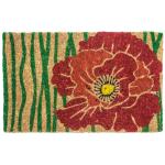 Entryways Handwoven Coconut Fiber 18 x 30 Inch Red Bloom Doormat