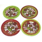 Merritt International 6 Inch Christmas Candies Appetizer Plates, Set of 4