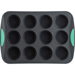 Trudeau Grey Silicone 12 Count Muffin Pan with Mint Accent