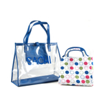 Sachi Lunchin Ladies 2 Piece Blue Circle Insulated Tote Set