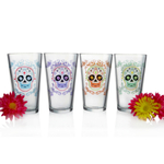 Sugar Skulls Assorted Design 16 Ounce Pint Pub Beer Glass, Set of 4