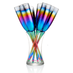 Artland Rainbow Glass 7 Piece Toasting Flute Set