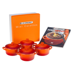 Le Creuset Set of 4 Flame Stoneware Mini Cocottes and Cookbook