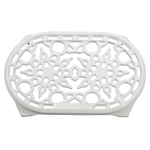 Le Creuset White Enameled Cast Iron 10.5 Inch Oval Trivet