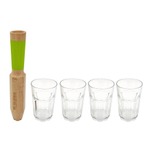 Cookut Morry Maple Wood 4-in-1 Mojito Tool with 15 Ounce Glasses