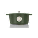Combekk Railway Green Enameled Cast Iron 4.2 Quart Dutch Oven with Thermometer