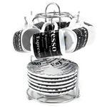 Black and White Porcelain 13 Piece Espresso Rack and Cup Set, Service for 6