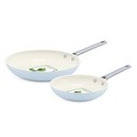 GreenPan Padova Light Blue Ceramic Nonstick Hard Anodized 2 Piece Fry Pan Set