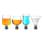 Final Touch Glass and Silicone 2 Ounce 4 Piece Jigger/Stopper Set