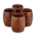 Final Touch Wood 2 Ounce Barrel Shot Glass, Set of 4
