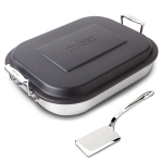 All Clad 18/10 Stainless Steel 11 x 14 Inch 3 Piece Covered Lasagna Pan and Serving Spatula Set