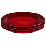 Le Creuset Cerise Stoneware 11.25 Inch Dinner Plate, Set of 4