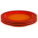 Le Creuset Flame Stoneware 11.25 Inch Dinner Plate, Set of 4
