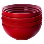 Le Creuset Cerise Stoneware 22 Ounce Soup Bowl, Set of 4