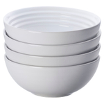 Le Creuset White Stoneware 22 Ounce Soup Bowl, Set of 4