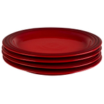 Le Creuset Cerise Stoneware 10.5 Inch Dinner Plate, Set of 4