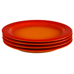 Le Creuset Flame Stoneware 10.5 Inch Dinner Plate, Set of 4