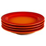 Le Creuset Flame Stoneware 8.5 Inch Salad Plate, Set of 4