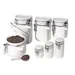 Oggi White Ceramic 7 Piece Round Dry Food Canister Set