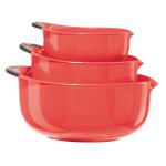 Oggi Red Non-Slip 3 Piece Oval Mixing Bowl Set