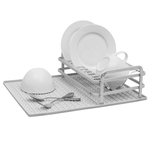 Ta Da Light Gray Aluminum Compact Dish Rack with Silicone DrySmart Mat