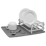 Ta Da Dark Gray Aluminum Compact Dish Rack with Silicone DrySmart Mat