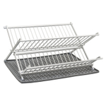 Ta Da Dark Gray Aluminum Folding Dish Rack with Silicone DrySmart Mat