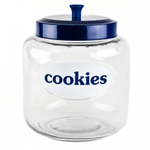 Blue Harbor Glass 4.75 Quart Cookie Jar with Blue Lid