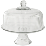 Anchor Hocking Monaco Ribbed Glass 2-in-1 Cake Plate and Punch Bowl